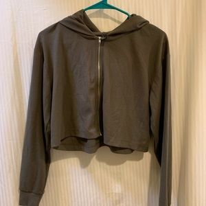 FOREVER 21 Olive Green Cropped ZIp Up Hoodie